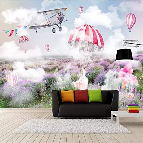 Pbbzl Verse en Eenvoudige Sky Plane Parachute Lavendel Mural Wall Factory Groothandel Wallpaper Mural Op maat foto Muur 200x140cm