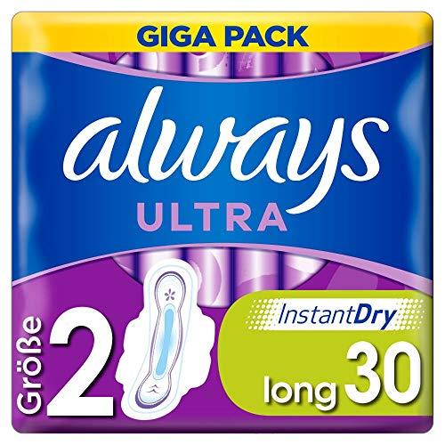 Always Giga Pack de 30 serviettes hygiéniques ultra fines et super absorbantes, neutralisant les odeurs et protection contre les fuites