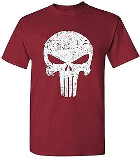Distressed Mercenary Skull - Patriot Liberty - Mens Cotton T-Shirt Funny Design