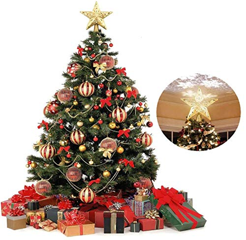 WOOLIY Golden Christmas Tree Topper,with 3D Rotating Hollow Glitter Snowflake Projector Star Lights Tree Topper for Festival Indoor Light Lamp for Decorations