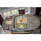 In Wonderland - Mantel ajustable de poliéster elástico, diseño de setas, color blanco y negro