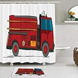 KISSENSU Cortinas con Ganchos,Vehículo de Servicio de Dibujos Animados de Camiones de Bomberos con una Escalera en el Rescate de Emergencia Lateral,Cortina de Ducha Alfombra de baño Bañera Accesorios