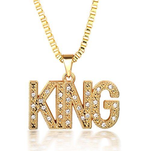 Halukakah  Kings Landing  Uomo Maschile 18K 18 Carati Placcato Oro Reale King Lettera Pendente Diamanti Artificiali Collana con Catena di Scatole Gratuita 30'