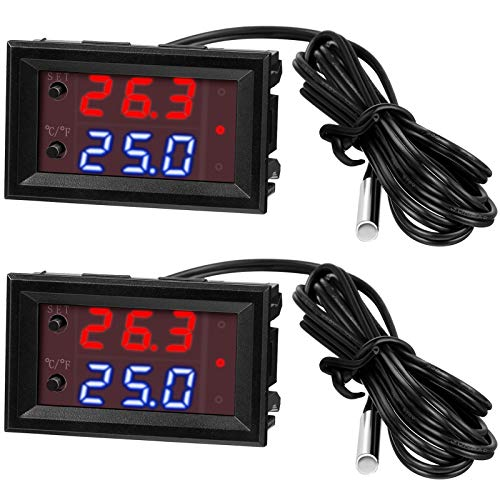 2 Pieces DC 12V Electronic Temperature Controller Programmable -50 to 110 ℃ Heating/ Cooling Thermostat Control Switch Module, NTC Waterproof Sensor Probe, Dual Color LED Display Monitor