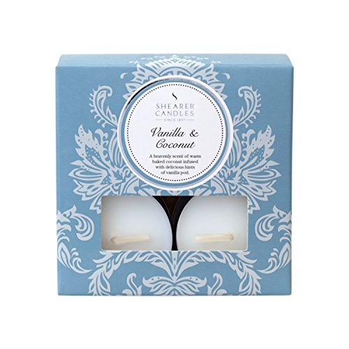 Shearer Candles Vanilla and Coconut (Pack of 8) Scented Tealights - White