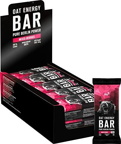 nu3 Oat Energy Bar - 15x 100g Mixed Berries Hafer Bar - Köstlicher Flap-Jack-Energie-Riegel mit 60% Kohlenhydraten für Ausdauer- und Kraftsport - Müsli Bar für Unterwegs - Veganer Oatsnack