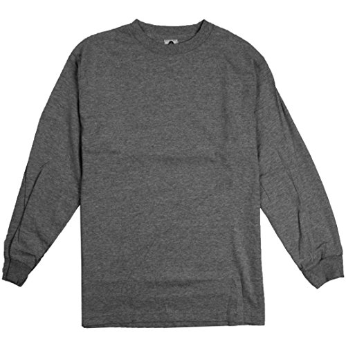 AlStyle Apparel AAA Plain Blank Men's Long Sleeve T-Shirt Style 1304 Crew Tee Charcoal Heather