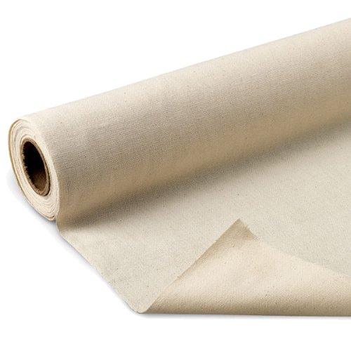 "Nasco 1100424 Fine Arts Unprimed Cotton Canvas Roll, 6 yds x 62"""