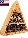 Mason Bee House - Handmade Natural Elderberry Bee Hotel - Bee Hive Attracts Peaceful Bee Pollinators to Enhance Garden Productivity