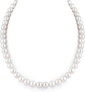 14K Gold 8-9mm AAAA Quality White Freshwater Cultured Pearl Necklace for Women in 16