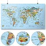 Abenteuer Weltkarte (Travel Map) von Awesome Maps - Illustrierte Karte für Abenteurer und Entdecker - Wiederbeschreibbar - 97,5 x 56 cm [International Edition]