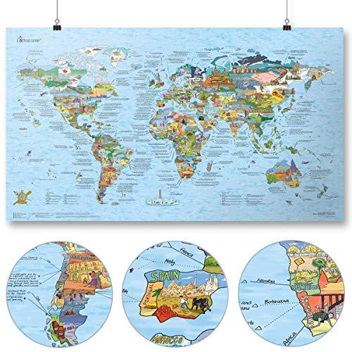 Travel Map by Awesome Maps - Geïllustreerde wereldkaart voor avonturiers en ontdekkingsreizigers - herschrijfbaar - 97,5 x 56 cm