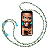 ZhinkArts Smartphone Necklace Case Compatible with Huawei P20 Lite - Cover with Cord Neck Strap - Mobile Phone Collar Case with Lanyard to wear in Brown - Blue