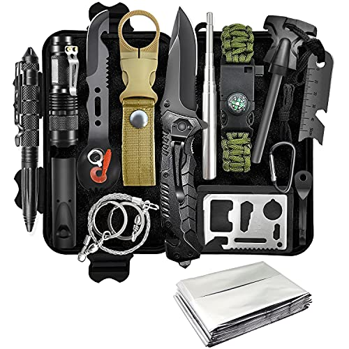 Gifts for Men Dad Husband Boyfriend Fathers Day, Survival Gear and Equipment 13 in 1 Emergency...
