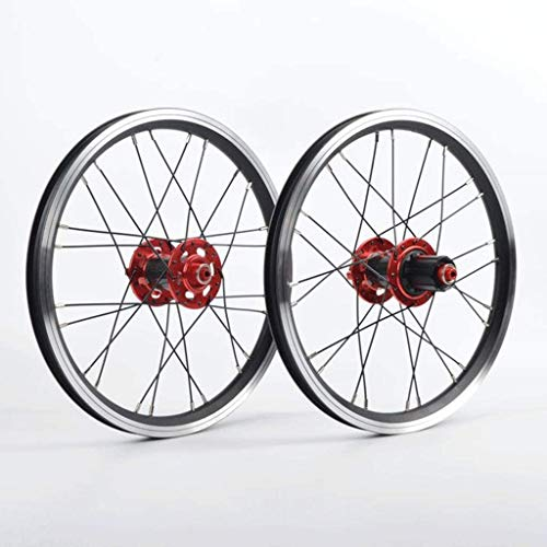 QMH BMX Set Ruote Bici 16 Pollici 24 Raggi Ruota Anteriore E Posteriore per Bicicletta Pieghevole Freno sul Cerchione Mozzo in Fibra di Carbonio Volano A Cassetta 7/8/9/10/11 veloc