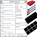 Magnetic Weekly Whiteboard Planner - Fridge or Cupboard Mounting System, Meal Planning, Reminder, Activities, Shopping List, Includes 8 Reusable Sticky Pads, Metal Board, 3 Dry Wipe Marker & Eraser