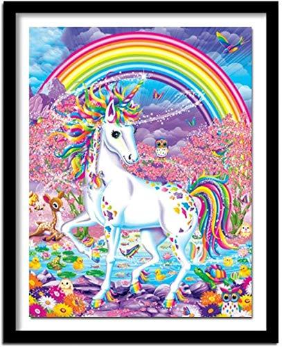 Kits de punto de cruz contados -Unicornio arcoiris 30x40cm- Kit de bordado a mano con patrón de punto de cruz Diy Kit de bordado impreso Set decoración del hogar