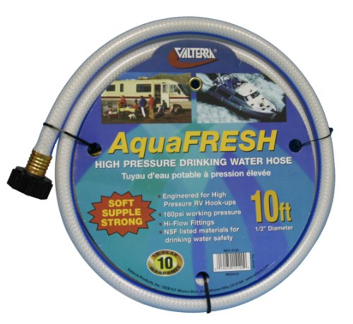 "Valterra AquaFresh High Pressure Drinking Water Hose, Water Hose Hookup for RV - 1/2"" x 10', White"