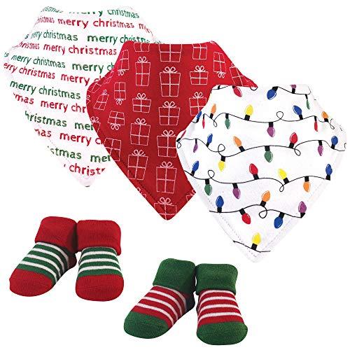 Hudson Baby Unisex Baby Cotton Bib and Sock Set, Christmas Lights, One Size US