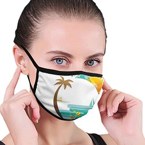 KISSENSU Beach Tropic Paradise Sommerdruck Staubwaschbarer wiederverwendbarer Mund Warmes winddichtes Baumwollgesicht
