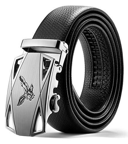 ITIEZY Herren Gürtel Ratsche Automatik Gürtel für Männer 35mm Breit Ledergürtel, Schwarz 105, Länge: Bis zu 49,21 Inches (125cm)