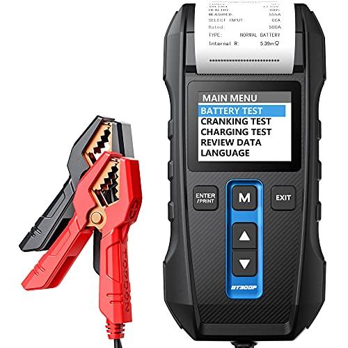TT TOPDON batterietester 12V&24V 100-2000CCA Autobatterietester Professional, mit eingebautem Thermodrucker für PKW-LKW ATV Auto Boot, BT300P-DE