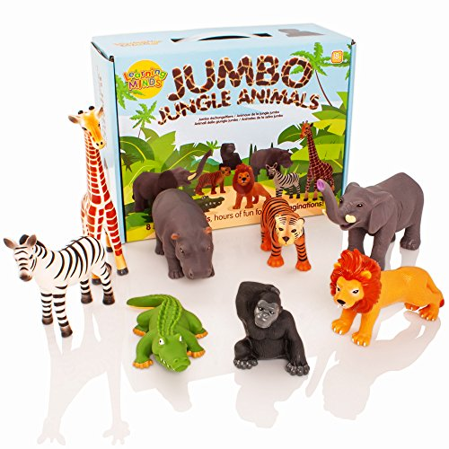 Learning Minds Conjunto de 8 Figuras Jumbo Jungle Animal - 1