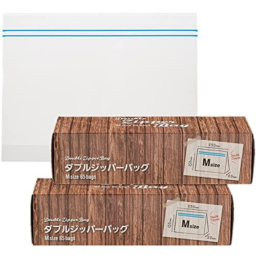 [Amazon限定ブランド]KurasダブルジッパーバッグMサイズ(マチ付き)65枚×2個パック