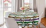 ABAKUHAUS Amante de los Perros Mantel Redondo, Perros Salchicha en Ropa, para Comedor Cocina o Sala de Estar con Estampa Digital Decorativa, 150 cm, Multicolor
