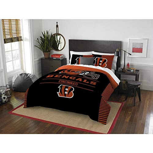 3pc NFL Cincinnati Bengals Comforter Full Queen Set, Orange, Team Logo, Football Themed, Fan Merchandise, Unisex, Team Spirit, National Football League, Black, Sports Patterned Bedding