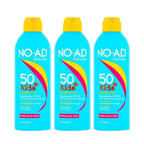 NO-AD Kids Sunscreen Spray SPF 50 10 oz (Pack of 3)