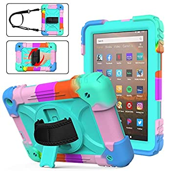 Case for Fire HD 8/HD 8 Plus Tablet for Kids with Hand Strap   AVAKOT Fire HD 8 Inch 10th Case with Flexible Rotating Stand   Triple Layer Silicone for Kindle Fire HD 8 Case 10th Generation   Green