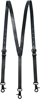 Men's Black Genuine Leather Steampunk Y Suspenders with 3 Snap Hooks Great for Wedding & Party