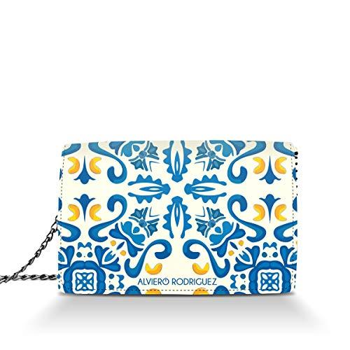 Alviero Rodriguez Borsa Bianca Donna Maioliche Blu Arte Ceramica in Vera Pelle (Catena Argento)