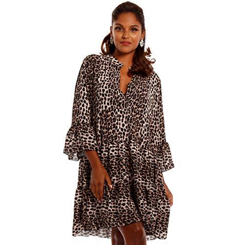 YC Fashion & Style Damen Tunika Kleid mit Leopard Muster Party-Kleid oder Freizeit-Minikleid H219 (One Size, Leopard)
