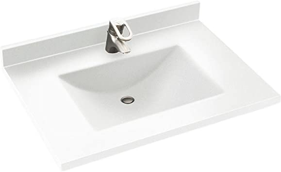Swanstone Cv02231 010 Contour Solid Surface Single Bowl Vanity Top 31 In L X 22 In H X 6 25 In H White Amazon Com