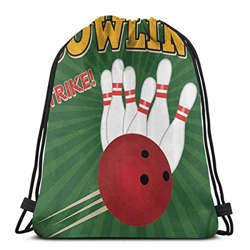 Hangdachang Bowlingbälle und Pins Design Kordelzug Rucksack Gym Sack Cinch Bag String Bag Bowling Bälle und Pins Design2