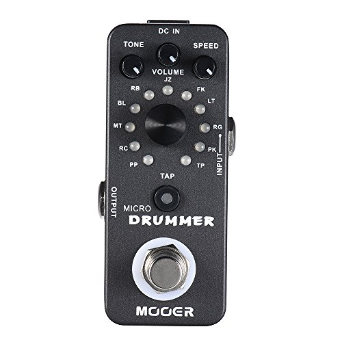 Muslady MOOER MICRO DRUMMER Digital Drum Machine Guitar Effect Pedal With Tap Tempo Function True Bypass Full Metal Shell
