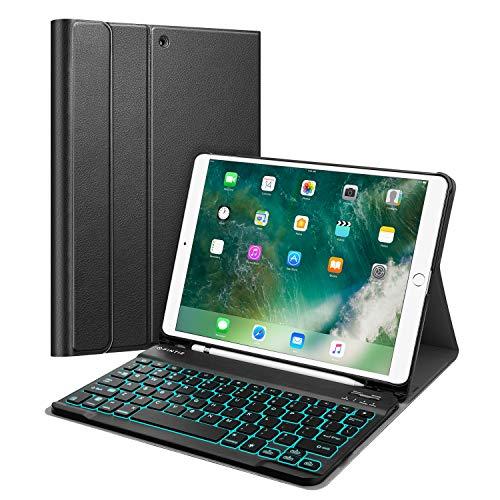 Fintie beleuchtete Tastatur Hülle für iPad Air 2019 (3. Generation) / iPad Pro 10.5 - Superdünn Schutzhülle mit stifthalter, Abnehmbarer QWERTZ Tastatur mit Hintergr&beleuchtung, Schwarz