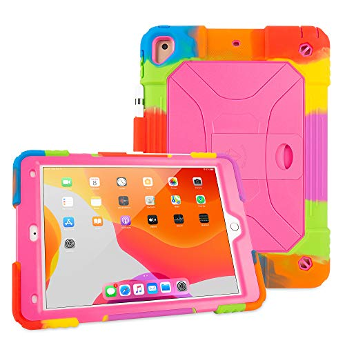 iPad Air 2 Case Shockproof Case Heavy Duty Shockproof Cover Vivid Colors with Stand for iPad Air 2 2014 Release (A1566 A1567)-iPad Air 2 Case (Rainbow Pink)