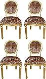 Casa Padrino Conjunto de Sillas de Comedor Barroco Medallón Leopardo/Oro 50 x 52 x H. 99 cm - 4 Sillas de Comedor Hechas a Mano - Muebles de Comedor Barrocos