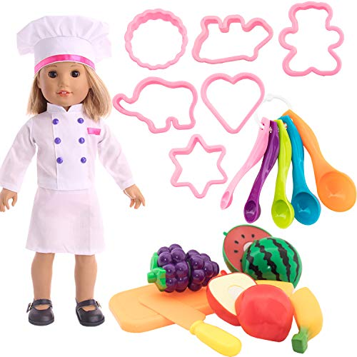 SOTOGO 18 Pieces 18 Inch Doll Clothes Chef Outfit and Kitchen Accessories for 18 Inch American Girl Doll Include 1 Sets Doll Chef Clothes and 17 Pieces Kitchen Toy Accessories