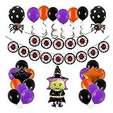 Decoración de Halloween,38 Piezas Feliz Halloween Globos Set,serpentinas en Espiral,con de bruja de Halloween Globos de Látex Fiesta Temática BannerColgando Remolinos Fiesta Festival Decoración
