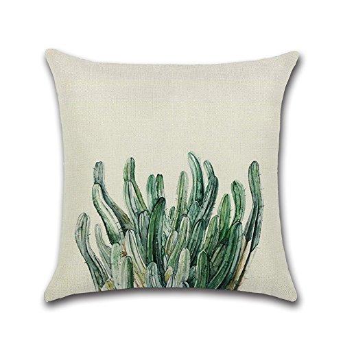 Kentop Housses de Coussin Decoratif Lin Oreiller Maison Décor Taie d'oreiller Motif de Plante Feuille Vert pour Salon Chambre 45 * 45cm Style3