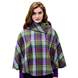 Mucros Weavers Ladies Plaid Poncho, Made in Ireland, 100% Irish Wool, One Size Fits All by
