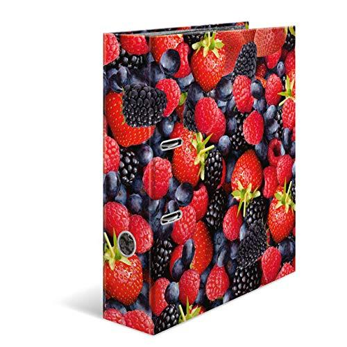 HERMA 7112 Motiv-Ordner DIN A4 Früchte Waldbeeren, 7 cm breit aus stabilem Karton mit hochwertigem Innendruck, Ringordner, Aktenordner, Briefordner, 1 Ordner