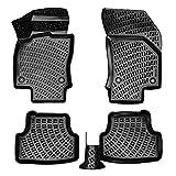 accessorypart Alfombrillas Coche para Volkswagen Polo 2017-2021 Goma Protector de Suelo 4D Impermeable Vehículo Específico Antideslizante Negro