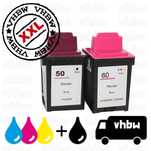 vhbw 2X Druckerpatronen Tintenpatronen Set für Drucker Compaq IJ600, Lexmark P3120, P3150, P706, P707, Z12, Z22, Z32, Z705, Z715 wie Lexmark 50, 60.