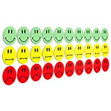 30 imanes de colores (10 Smileys sonrientes verdes/10 sonrisas amarillas neutrales / 10 sonrisas...