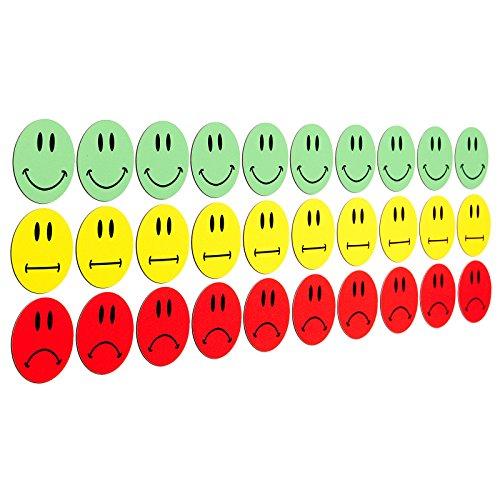 30 bunte Smileys Magnete (10 gruene lachende Smileys / 10 gelbe neutrale Smileys / 10 rote traurige Smileys) / Durchmesser 3cm / z.B. fuer Praesentationen, Schulungen, Projektarbeit, Unterricht.